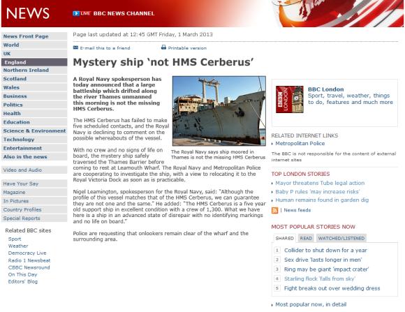 BBC News - HMS Cerberus